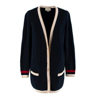 Gucci Blue Lurex Detail Contrast Trim Knit Cardigan