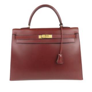 Hermes Box Calfskin Burgundy Kelly Sellier 32 GHW