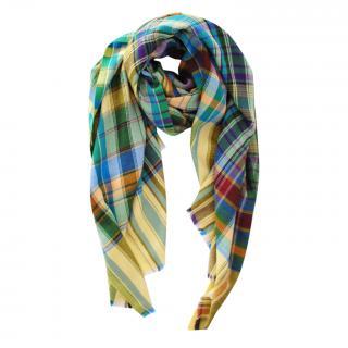 Etro Multicoloured Tartan Cashmere Blend Scarf