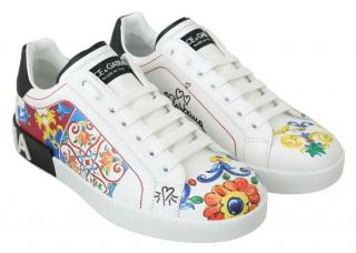 Dolce & Gabbana Tile Print White Sneakers