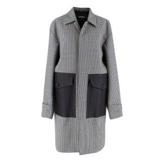 Dsquared2 Black & White Houndstooth Balmacaan Coat