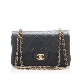 Chanel Vintage Black Lambskin Small Double Flap GHW