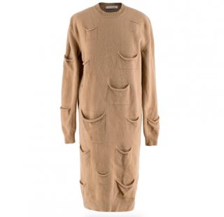 JW Anderson Camel Wool & Cashmere Pocket Details Knit Dress