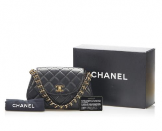 Chanel Black Vintage Lambskin Round Classic Flap GHW