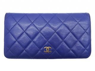 Chanel Blue Lambskin Bi-Fold Long Wallet