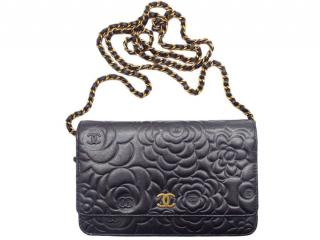 Chanel Grey Camellia Embossed Wallet on Chain