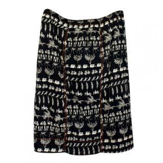Isabel Marant Black Printed A-line Skirt