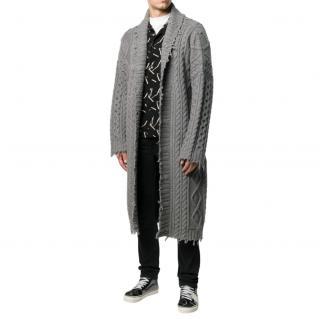 Alanui Men's Grey Longline Cable Knit Cardigan