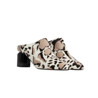Roberto Cavalli Lynx print calf hair mules