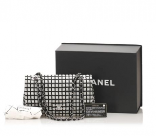 Chanel Classic Single Flap Printed Canvas with Ribbon Tweed