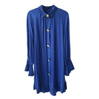 Mother of Pearl sapphire blue silk dress