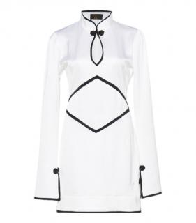 De La Valli White & Black Satin Mini Dress