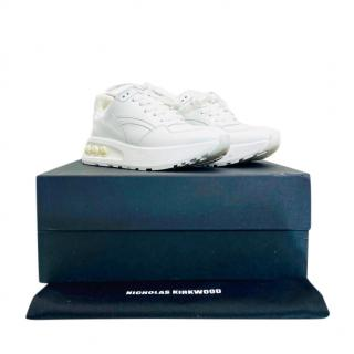 Nicholas Kirkwood White Embellished Chunky Sneakers