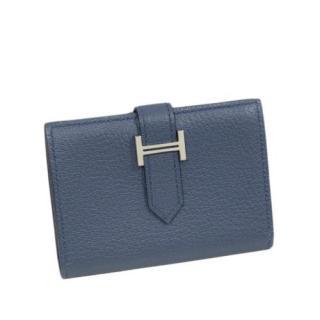 Hermes Blue Bearn Leather Card Holder
