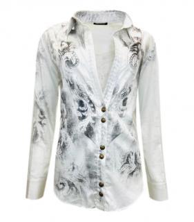 Balmain White Feather Paisley Print Shirt