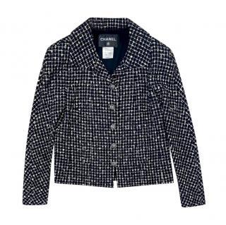 Chanel Black & White Short Tweed Tailored Jacket