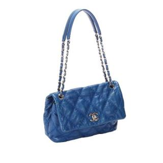 Chanel Blue Lambskin Wild Stitch Flap Bag