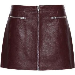 Alexander Wang Oxblood Leather Mini Skirt