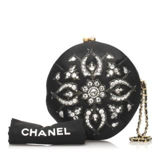 Chanel Black velour Embellished  Pouch/Clutch