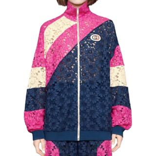 Gucci pink,navy,cream lace insert bomber jacket