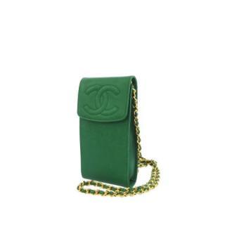 Chanel Emerald Green Caviar Leather Crossbody Cigarette Case
