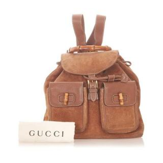 Gucci Tan Brown Leather and Suede Bamboo Backpack