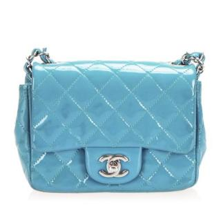 Chanel Blue Patent Leather Square Mini Flap Bag