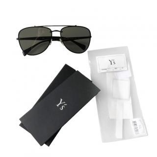 Yohji Yamamoto Black Aviator Sunglasses