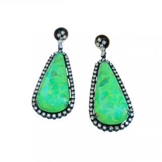 Bespoke Jade Cabochon Diamond Drop Earrings