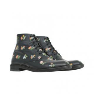 Saint Laurent Black Floral Lolita Ankle Boots