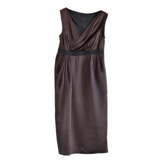 Lanvin Brown Silk Sleeveless Dress