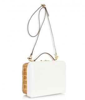 Mark Cross White Rattan Small Grace Box Bag