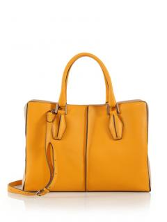 Tod's Yellow Leather D-Cube Tote Bag