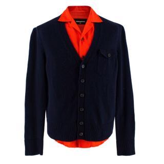 Dsquared2 Red & Blue Cashmere blend Shirt Detail Cardigan