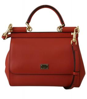 Dolce & Gabbana Red Smooth Leather Sicily Tote Bag