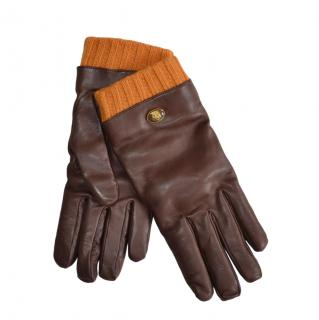 Gucci Brown Leather Wool Trimmed Men's Gloves Size 9