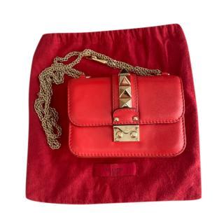 Valentino Red Leather Glamlock Shoulder Bag