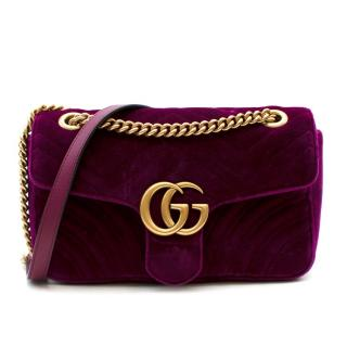 Gucci Purple Velvet Small GG Marmont Flap Bag
