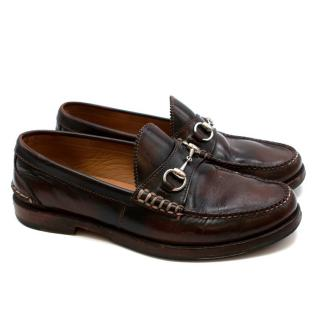 Gucci Brown Leather Horse Bit Loafers