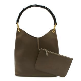 Gucci Vintage Brown Leather Bamboo Shoulder Bag