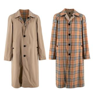 Burberry Beige/Vintage Check Reversible Single Breasted Trench Coat
