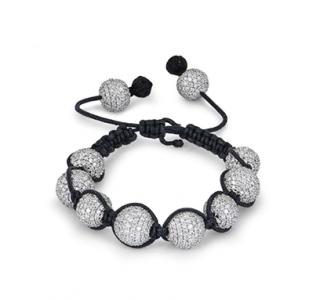 Bespoke 18kt White Gold Adjustable Pave Diamond Cord Bracelet
