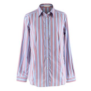 Etro Red & Blue Striped Cotton Long Sleeve Shirt