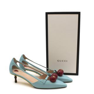 Gucci Light Blue Cherry Applique Bamboo Pumps