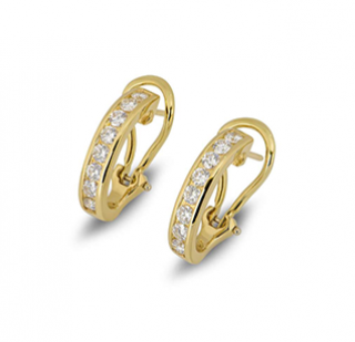 Tiffany & Co. Channel Set Diamond Half Hoop Yellow Gold Earrings