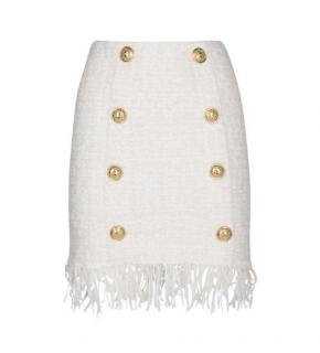 Balmain White Tweed Fringed High Waisted Skirt