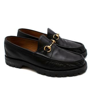 Gucci Black Leather Horse Bit Loafers