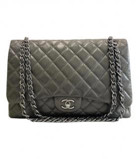 Chanel Grey Lambskin Quilted Jumbo Single Flap