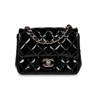 Chanel Black Patent Square Mini Flap Bag