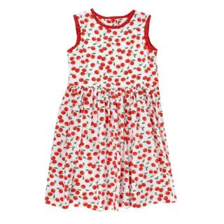 Rachel Riley Red & White Cherry Print Ruffled Dress